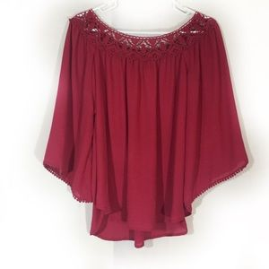 Altar'd State maroon lace blouse size extra large